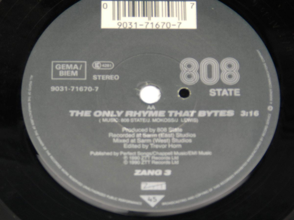 MC Tunes Versus 808 State – The Only Rhyme That Bites vinyl record side A label scaled