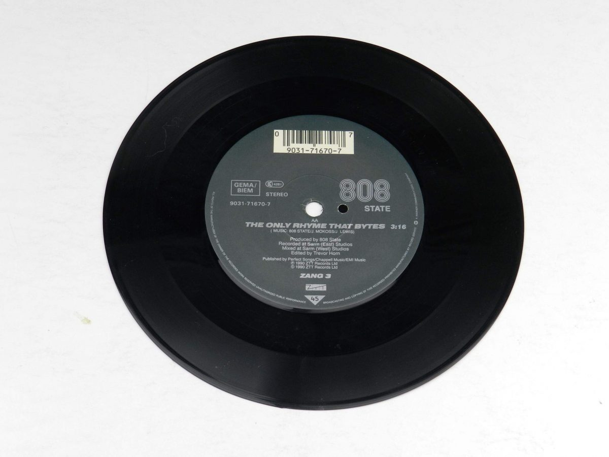 MC Tunes Versus 808 State – The Only Rhyme That Bites vinyl record side A scaled
