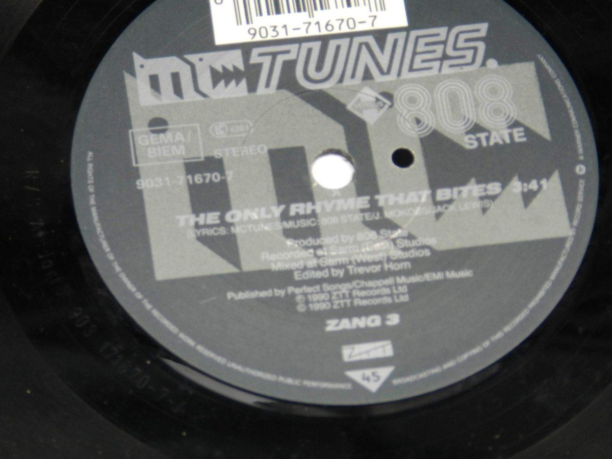 MC Tunes Versus 808 State – The Only Rhyme That Bites vinyl record side B label scaled