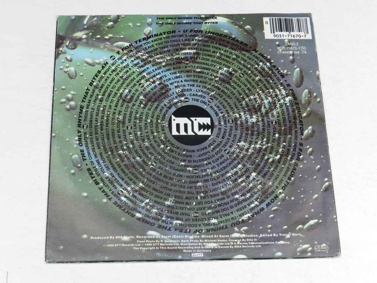 MC Tunes Versus 808 State – The Only Rhyme That Bites vinyl record sleeve rear scaled