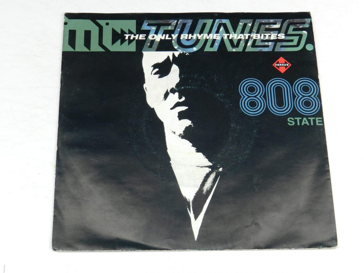 MC Tunes Versus 808 State – The Only Rhyme That Bites vinyl record sleeve scaled