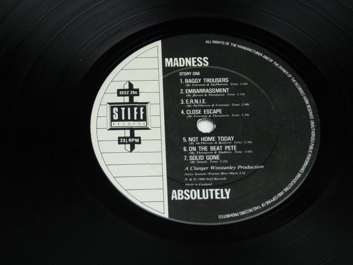Madness – Absolutely vinyl record side A label scaled