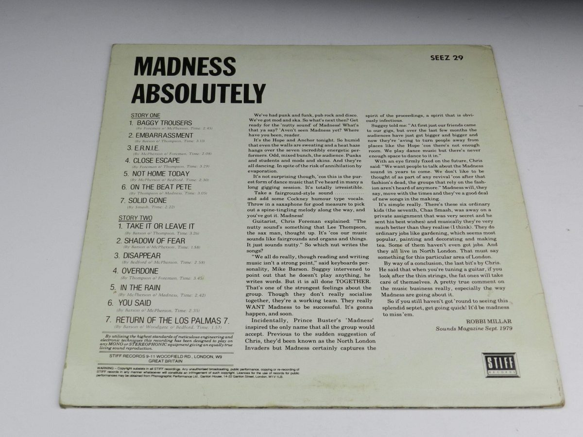 Madness – Absolutely vinyl record sleeve rear scaled