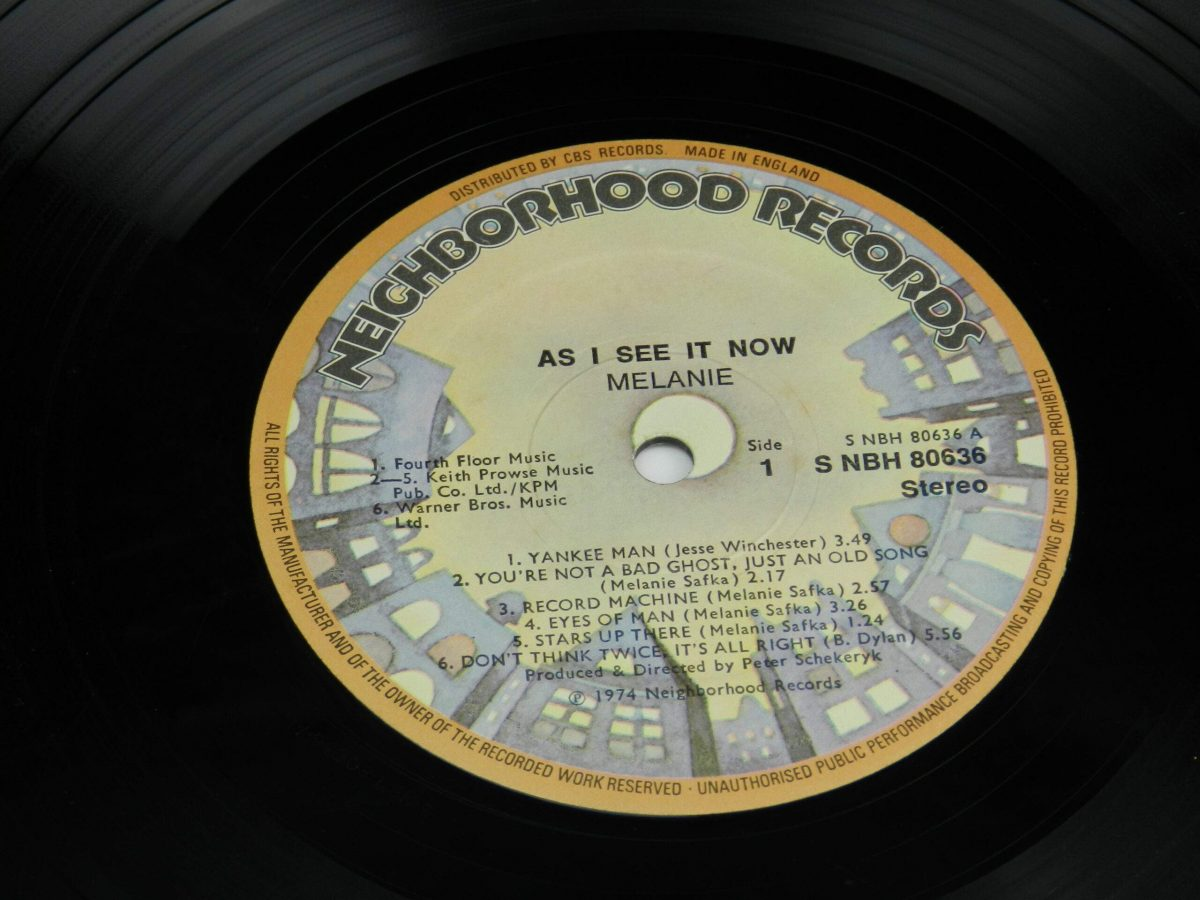 Melanie – As I See It Now vinyl record side A label scaled
