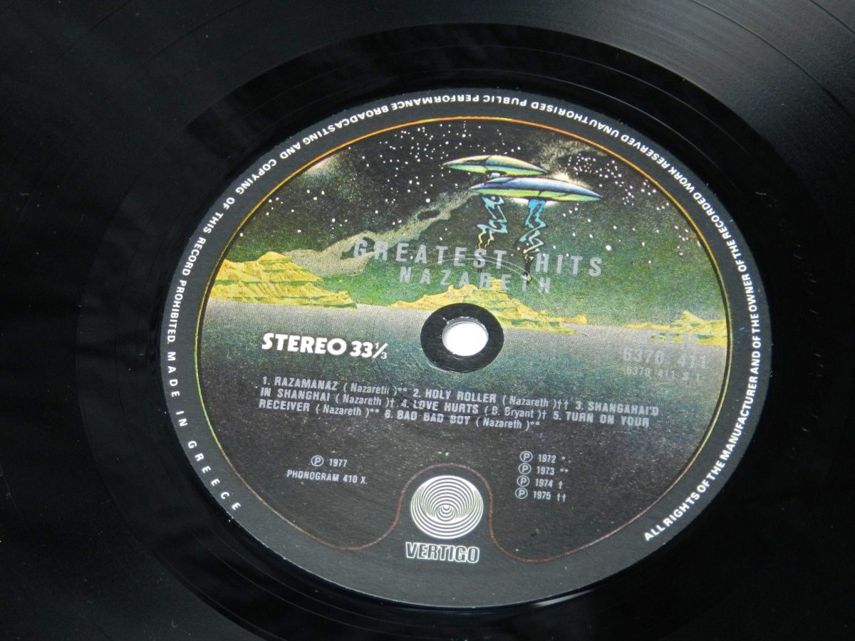 Nazareth – Greatest Hits vinyl record side A label scaled