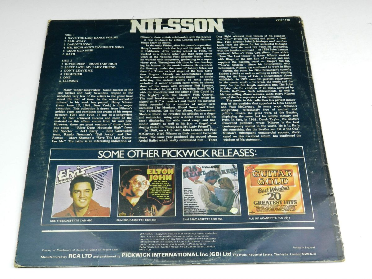 Nilsson – Save The Last Dance For Me vinyl record sleeve rear scaled