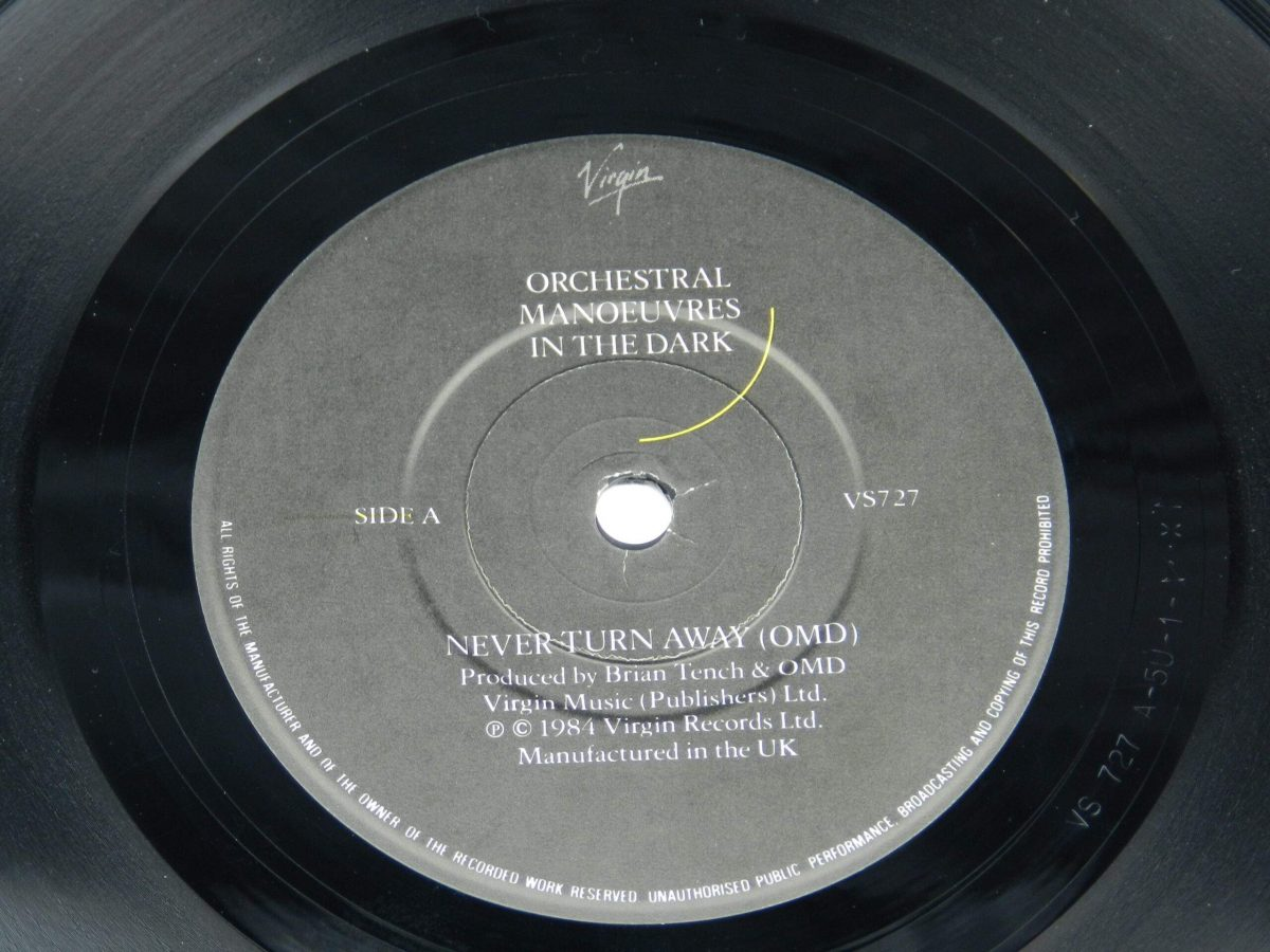 Orchestral Manoeuvres In The Dark – Never Turn Away vinyl record side A label scaled