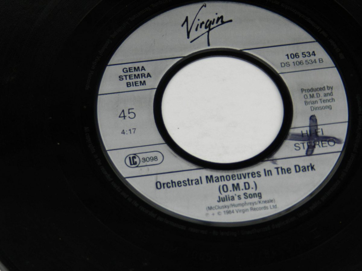 Orchestral Manoeuvres In The Dark – Talking Loud And Clear vinyl record side B label scaled