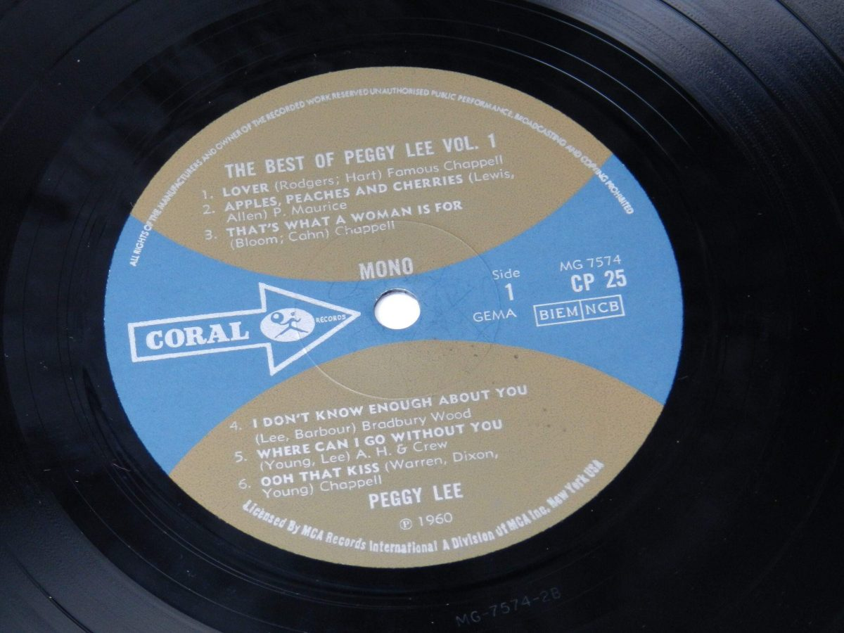 Peggy Lee – The Best Of Peggy Lee vinyl record side A label scaled