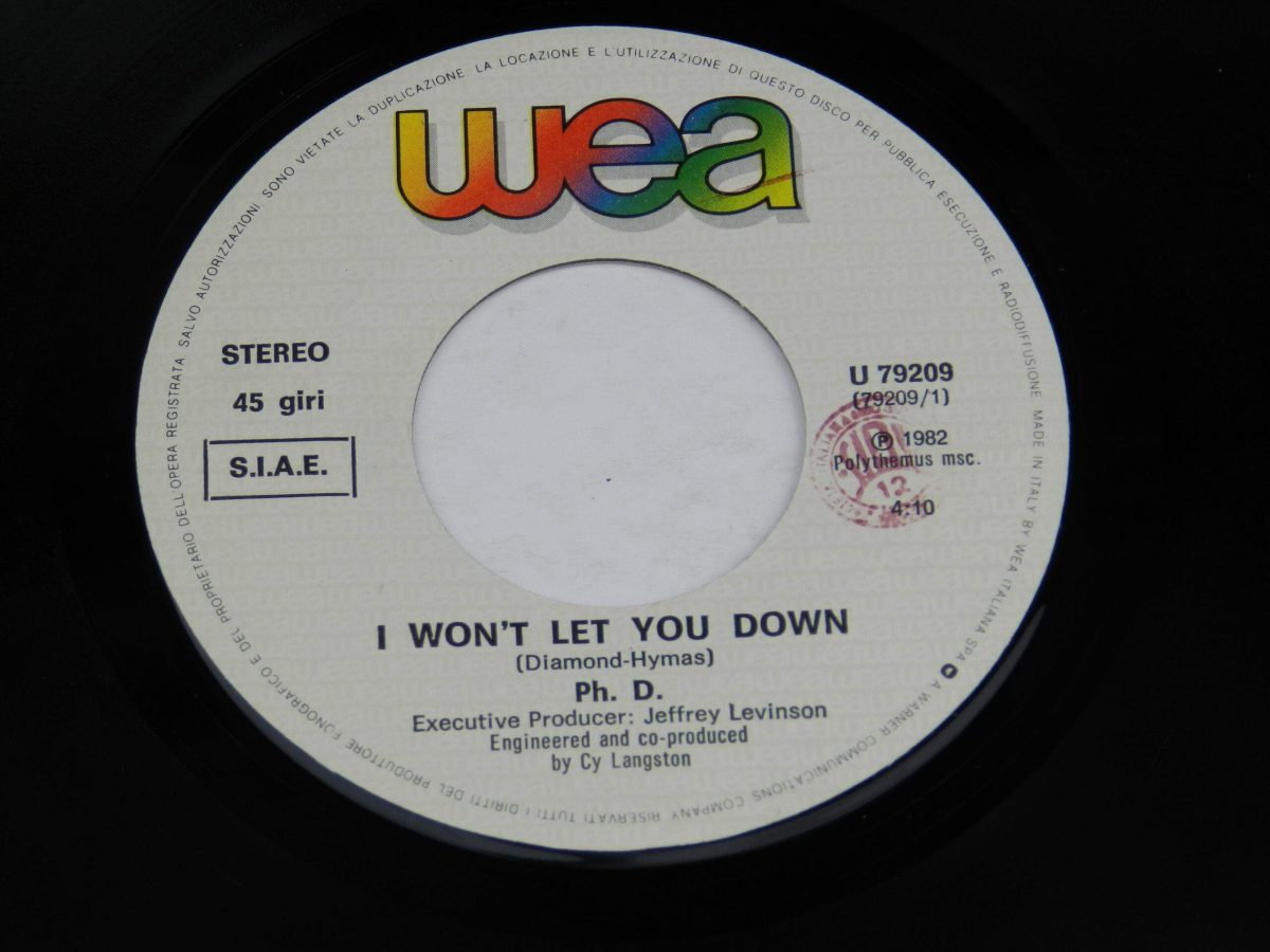 Ph.D. – I Won t Let You Down vinyl record side A label scaled