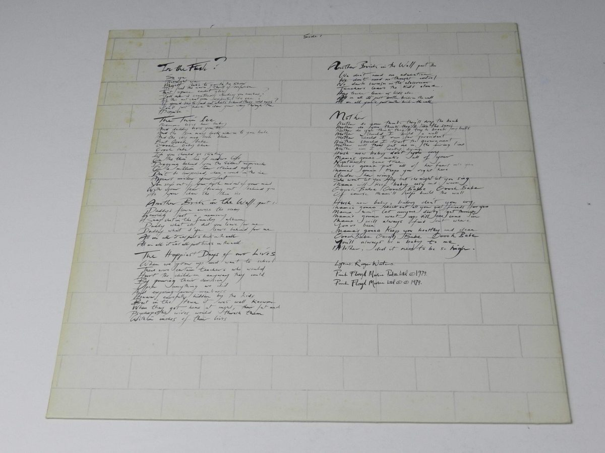 Pink Floyd – The Wall vinyl record 1 inner 1 scaled