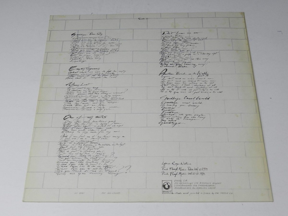 Pink Floyd – The Wall vinyl record 1 inner 2 scaled