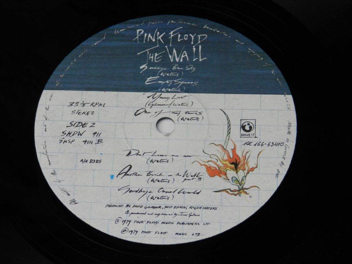 Pink Floyd – The Wall vinyl record 1 side B label scaled