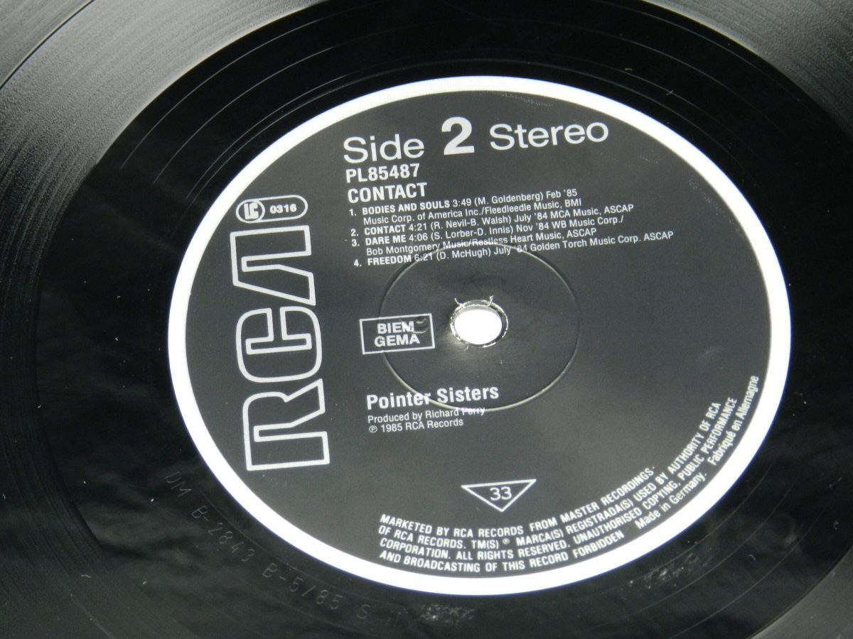 Pointer Sisters – Contact vinyl record side B label scaled
