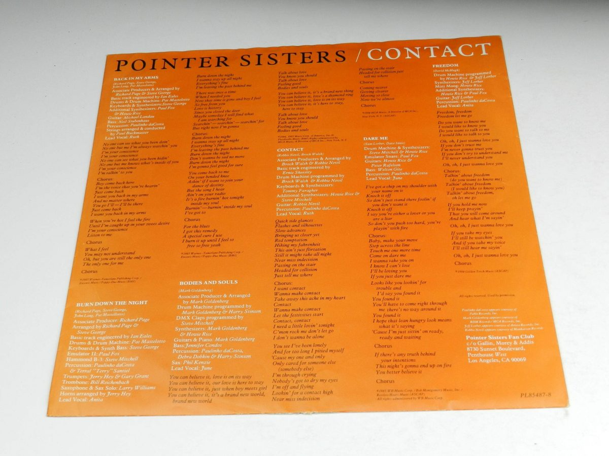 Pointer Sisters – Contact vinyl record sleeve inner 2 scaled