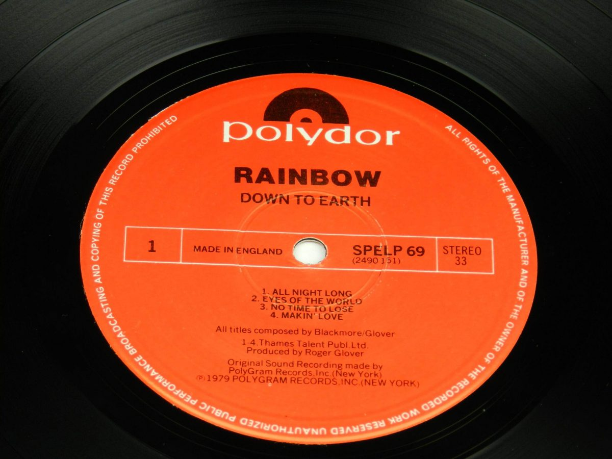 Rainbow – Down To Earth vinyl record side A label scaled