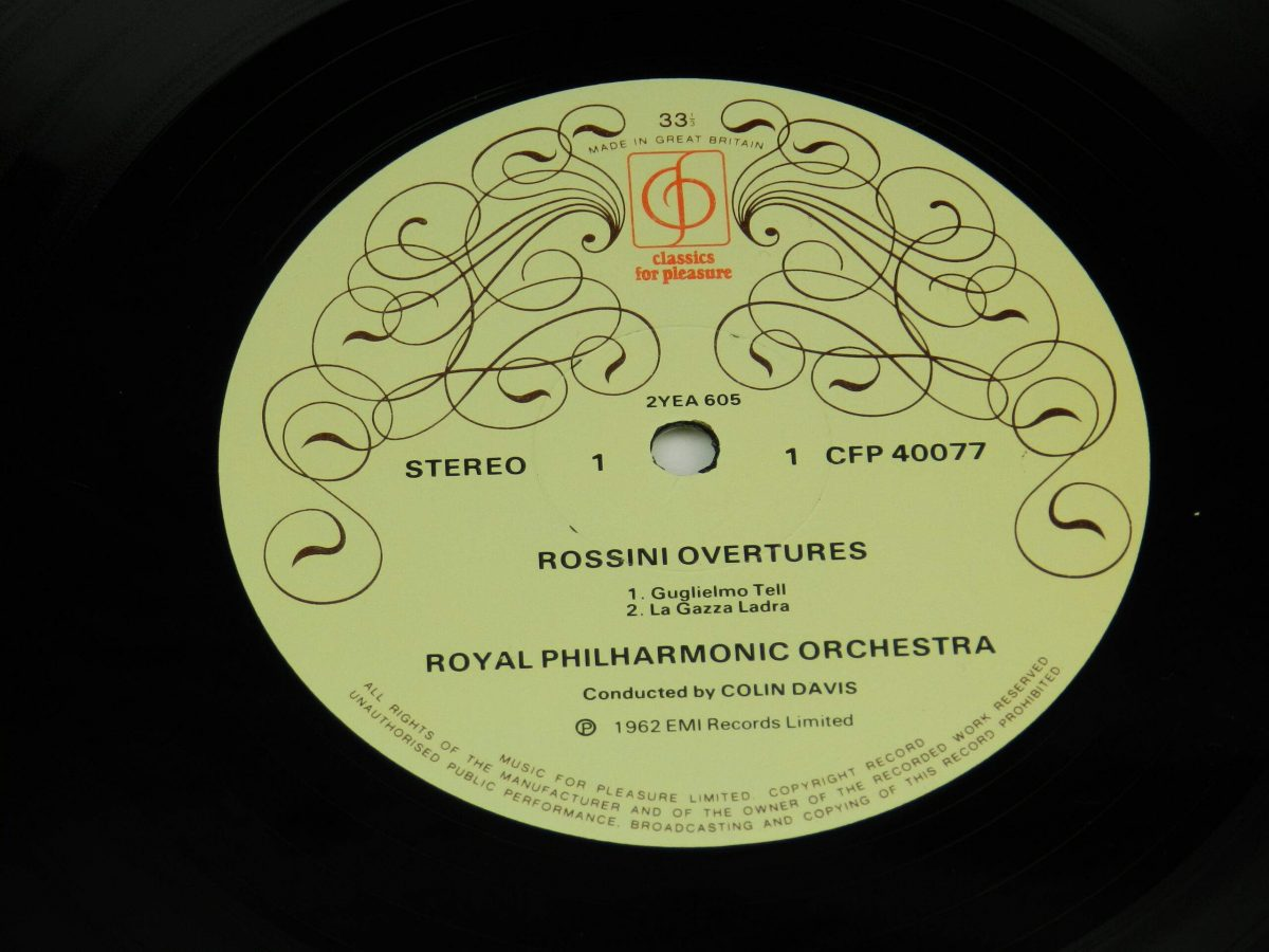 Royal Philharmonic Orchestra Colin Davis – Rossini Overtures vinyl record side A label scaled