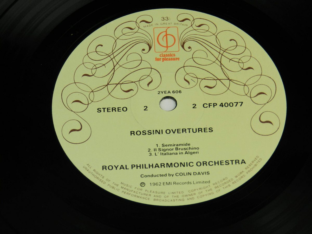 Royal Philharmonic Orchestra Colin Davis – Rossini Overtures vinyl record side B label scaled