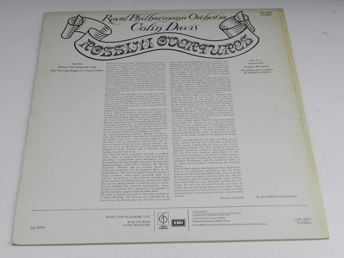 Royal Philharmonic Orchestra Colin Davis – Rossini Overtures vinyl record sleeve rear scaled