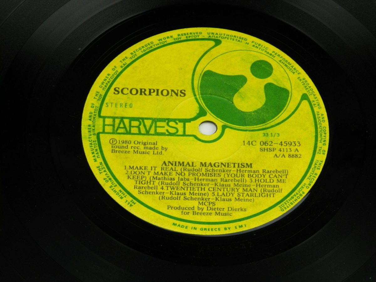 Scorpions – Animal Magnetism vinyl record side A label scaled