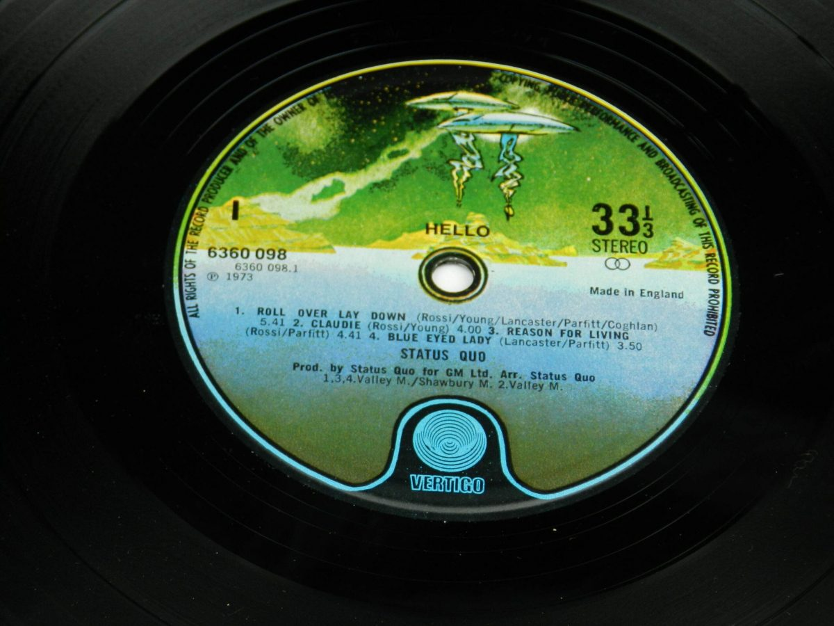 Status Quo – Hello vinyl record side A label scaled