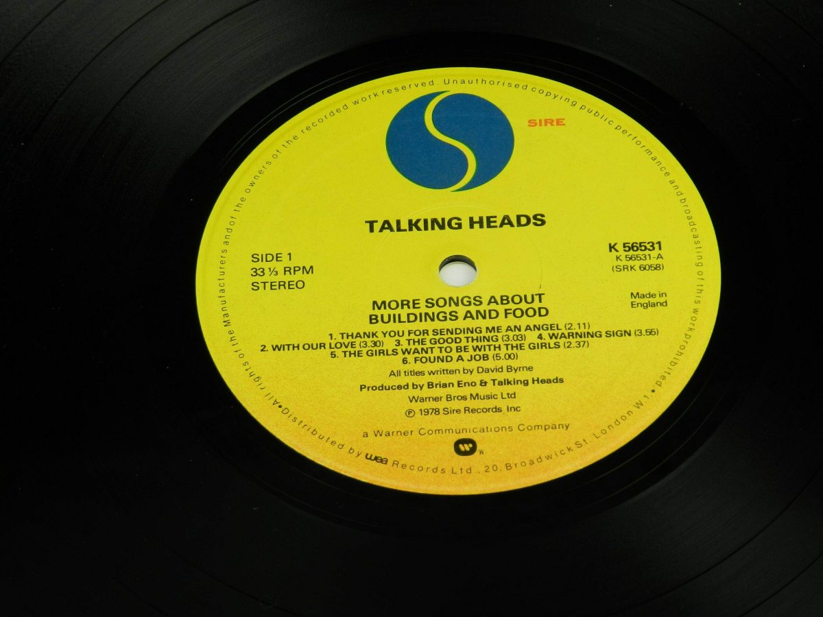 Talking Heads – More Songs About Buildings And Food vinyl record side A label scaled