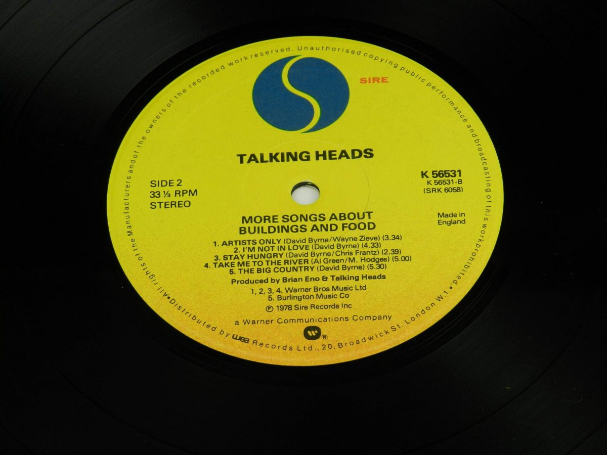 Talking Heads – More Songs About Buildings And Food vinyl record side B label scaled