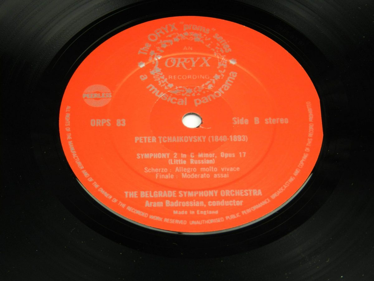 Tchaikovsky Belgrade Symphony Orchestra conducted by Badrossian – Symphony 2 in C Minor op 17 Little Russian vinyl record side B label scaled