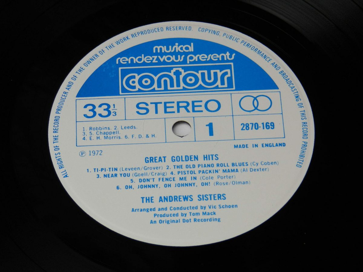 The Andrews Sisters – Great Golden Hits vinyl record side A label scaled