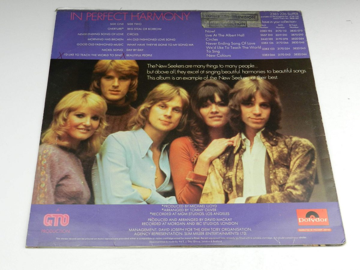 The New Seekers – In Perfect Harmony vinyl record sleeve rear scaled