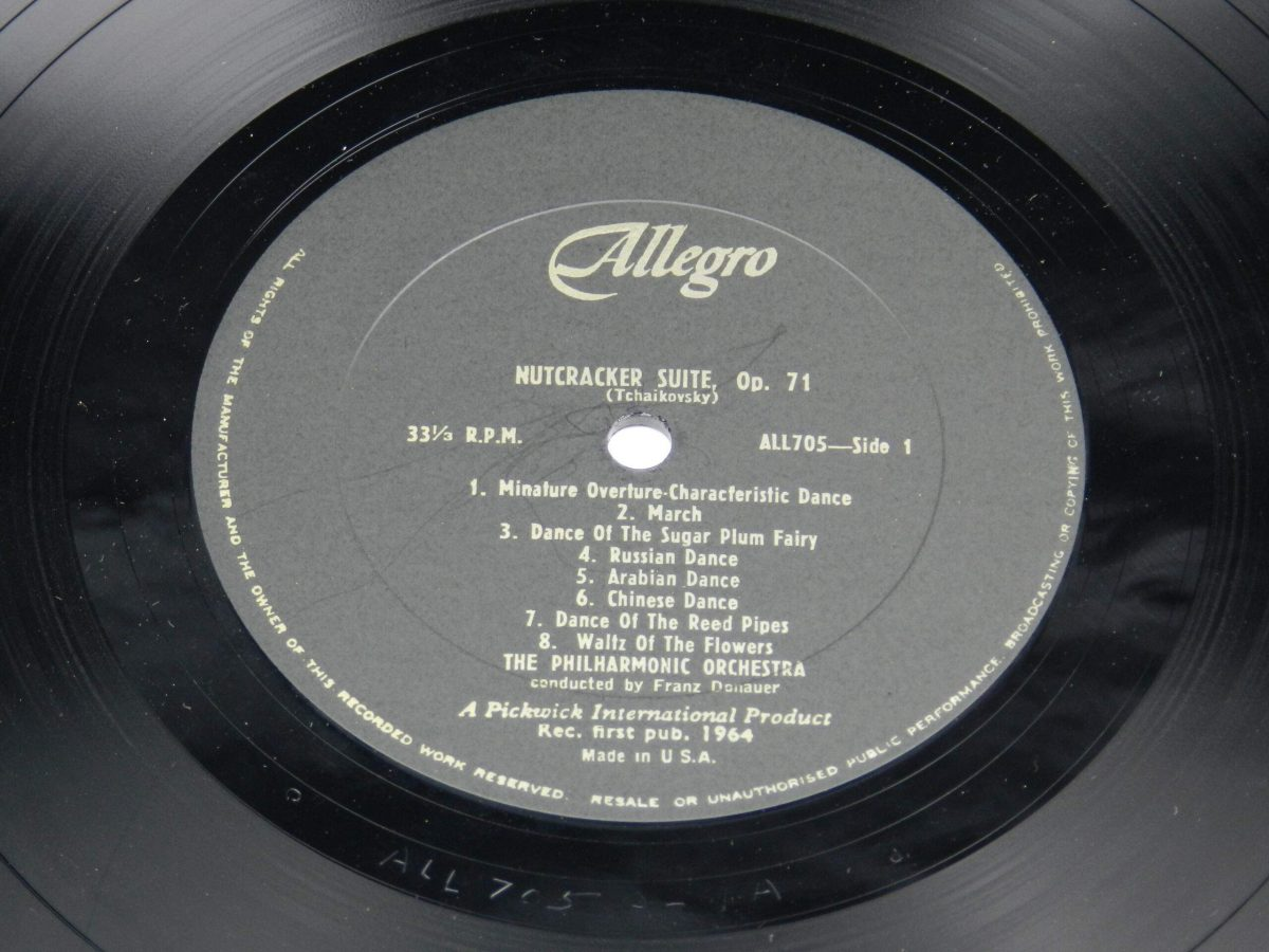 The Philharmonic Orchestra Conducted By Franz Donauer – Sleeping Beauty and The Nutcracker Suite vinyl record side A label scaled