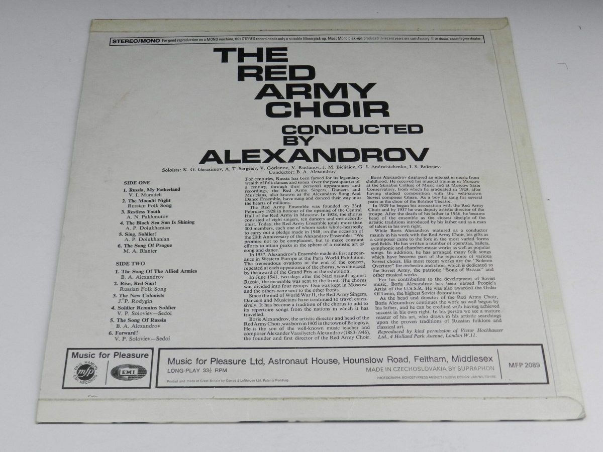 The Red Army Choir Conducted By Alexandrov – The Red Army Choir Conducted By Alexandrov vinyl record sleeve rear scaled