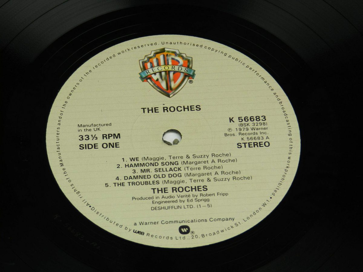 The Roches – The Roches vinyl record side A label scaled