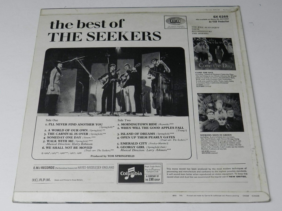 The Seekers – The Best Of The Seekers vinyl record sleeve rear scaled