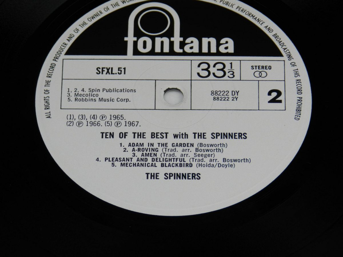The Spinners – Ten Of The Best With The Spinners vinyl record side B label scaled