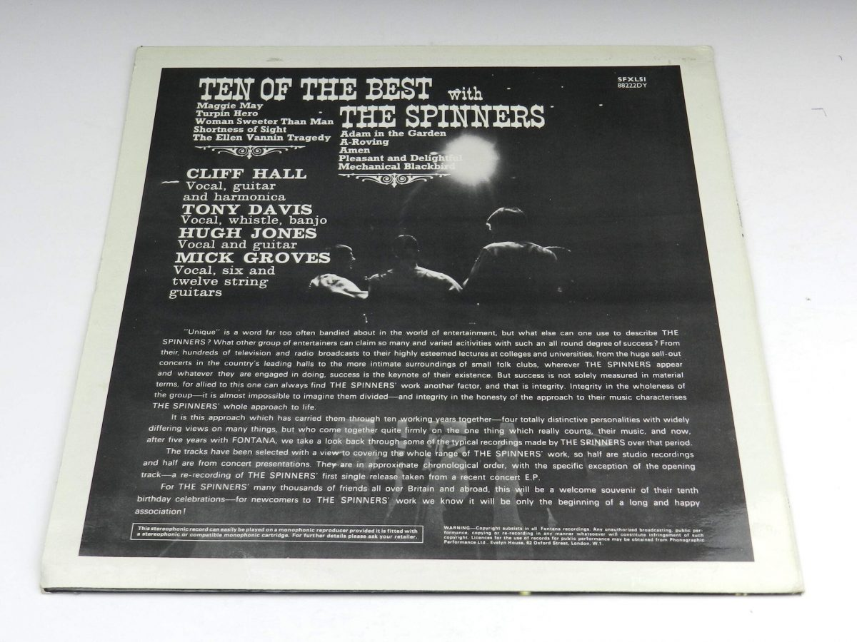 The Spinners – Ten Of The Best With The Spinners vinyl record sleeve rear scaled