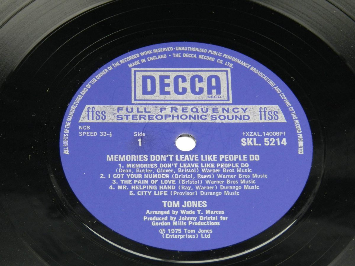 Tom Jones – Memories Don t Leave Like People Do vinyl record side A label scaled