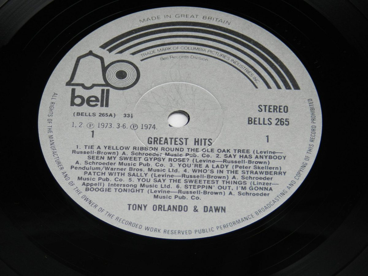 Tony Orlando and Dawn – Greatest Hits vinyl record side A label scaled