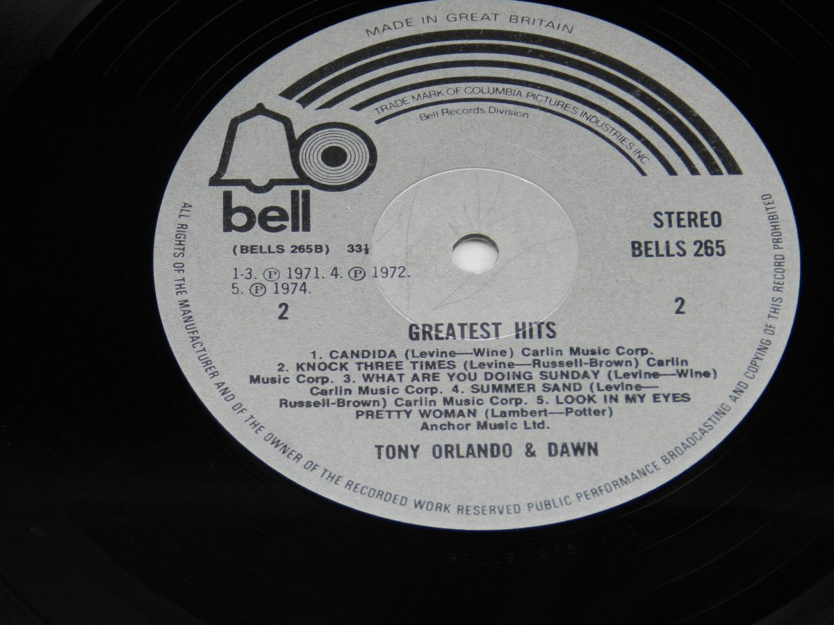 Tony Orlando and Dawn – Greatest Hits vinyl record side B label scaled