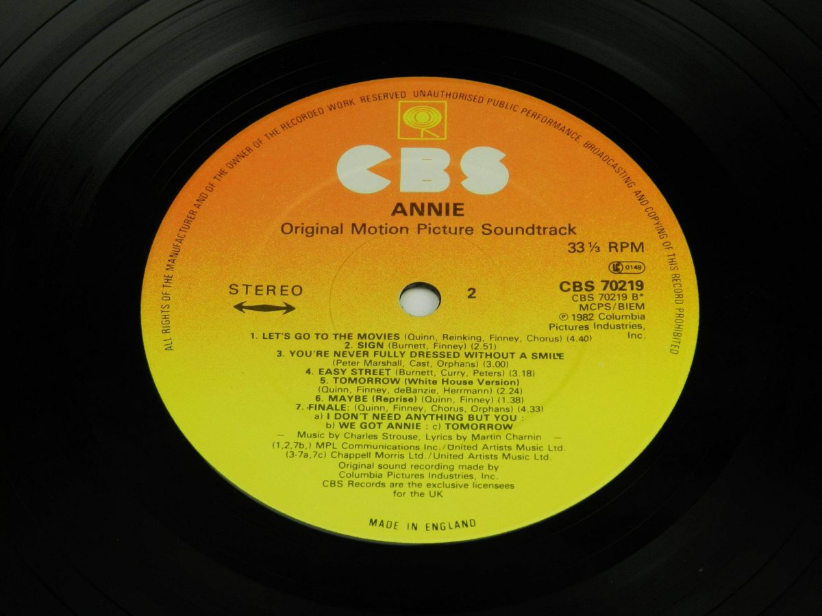 Various – Annie Original Motion Picture Soundtrack vinyl record side B label scaled