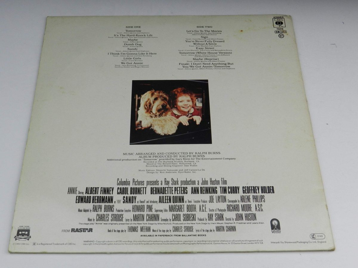 Various – Annie Original Motion Picture Soundtrack vinyl record sleeve rear scaled