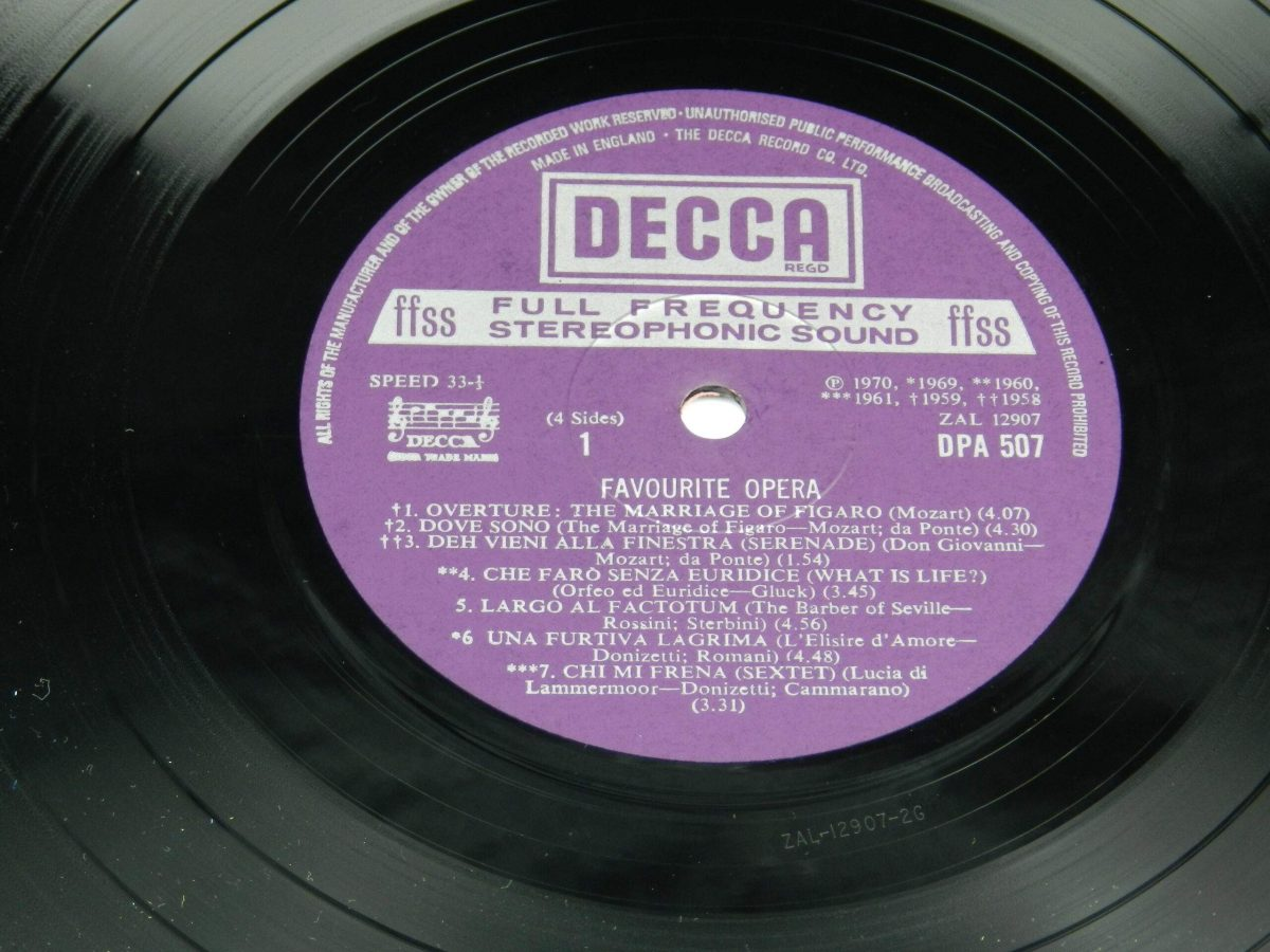 Various – Favourite Opera Famous Solos Duets And Choruses vinyl record 1 side A label scaled