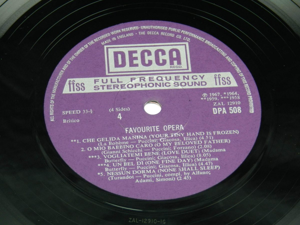 Various – Favourite Opera Famous Solos Duets And Choruses vinyl record 2 side B label scaled