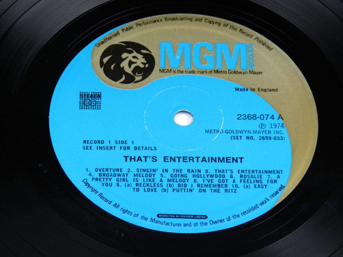 Various – Music From The Original Motion Picture Soundtrack That s Entertainment vinyl record 1 side A label scaled