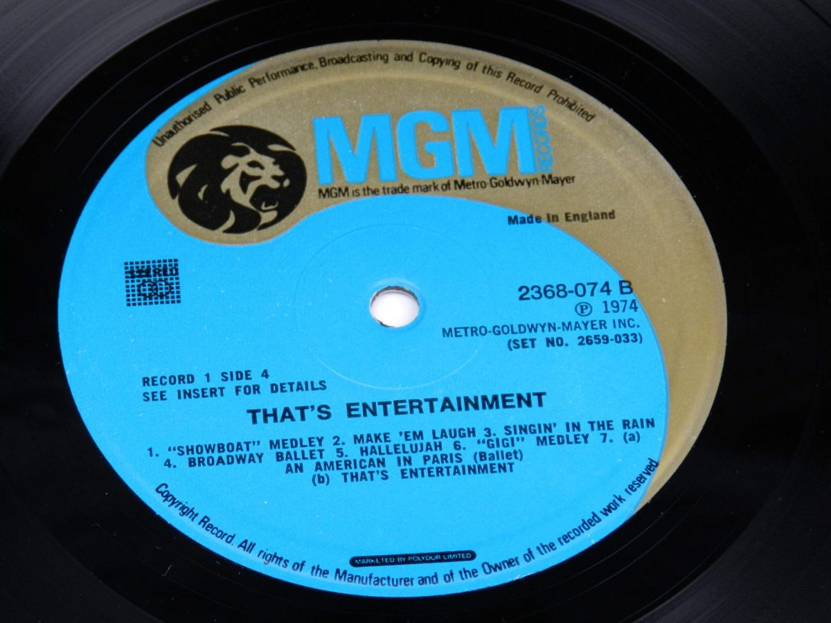 Various – Music From The Original Motion Picture Soundtrack That s Entertainment vinyl record 1 side B label scaled