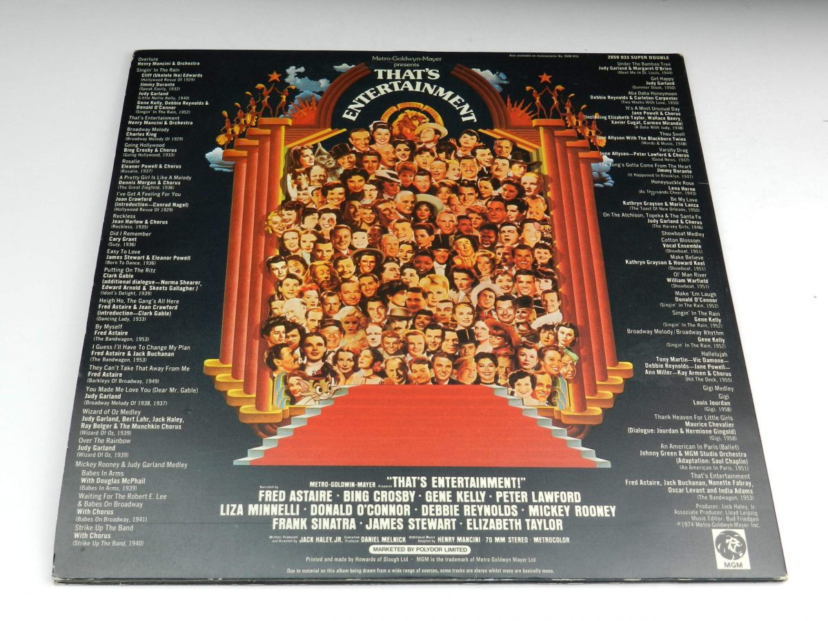 Various – Music From The Original Motion Picture Soundtrack That s Entertainment vinyl record sleeve rear scaled