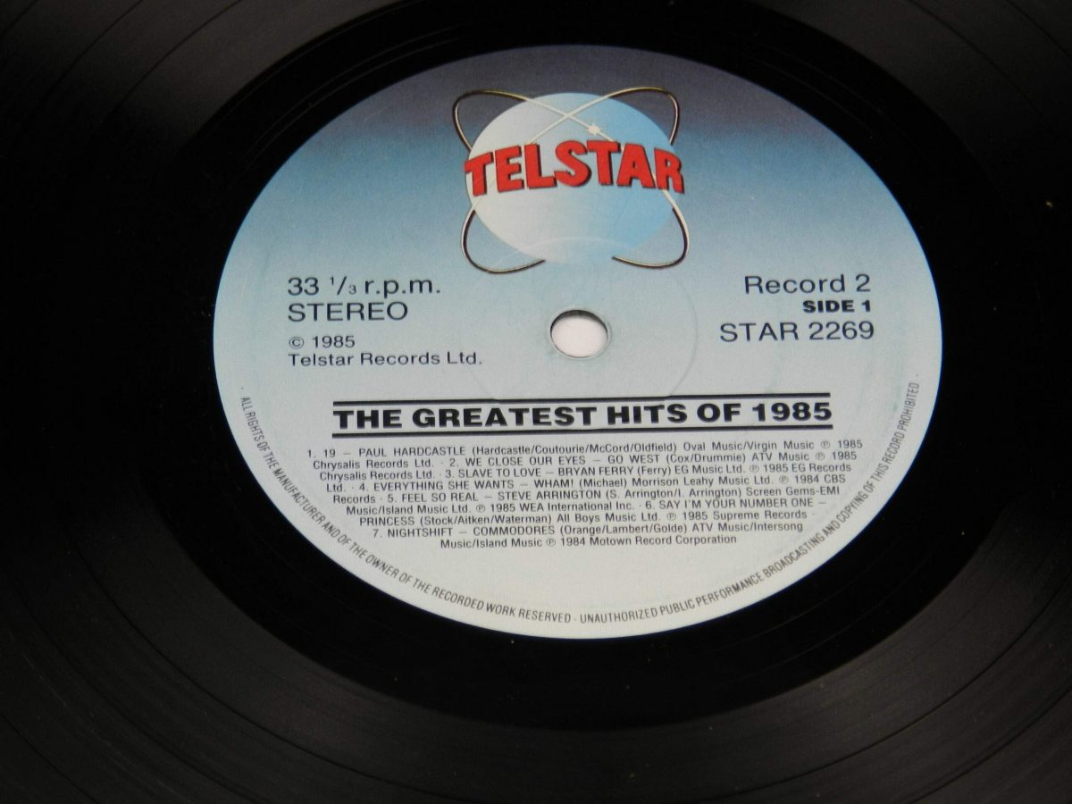 Various – The Greatest Hits Of 1985 vinyl record 1 side A label scaled