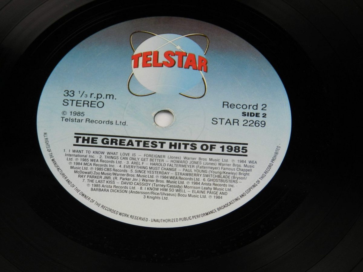 Various – The Greatest Hits Of 1985 vinyl record 1 side B label scaled