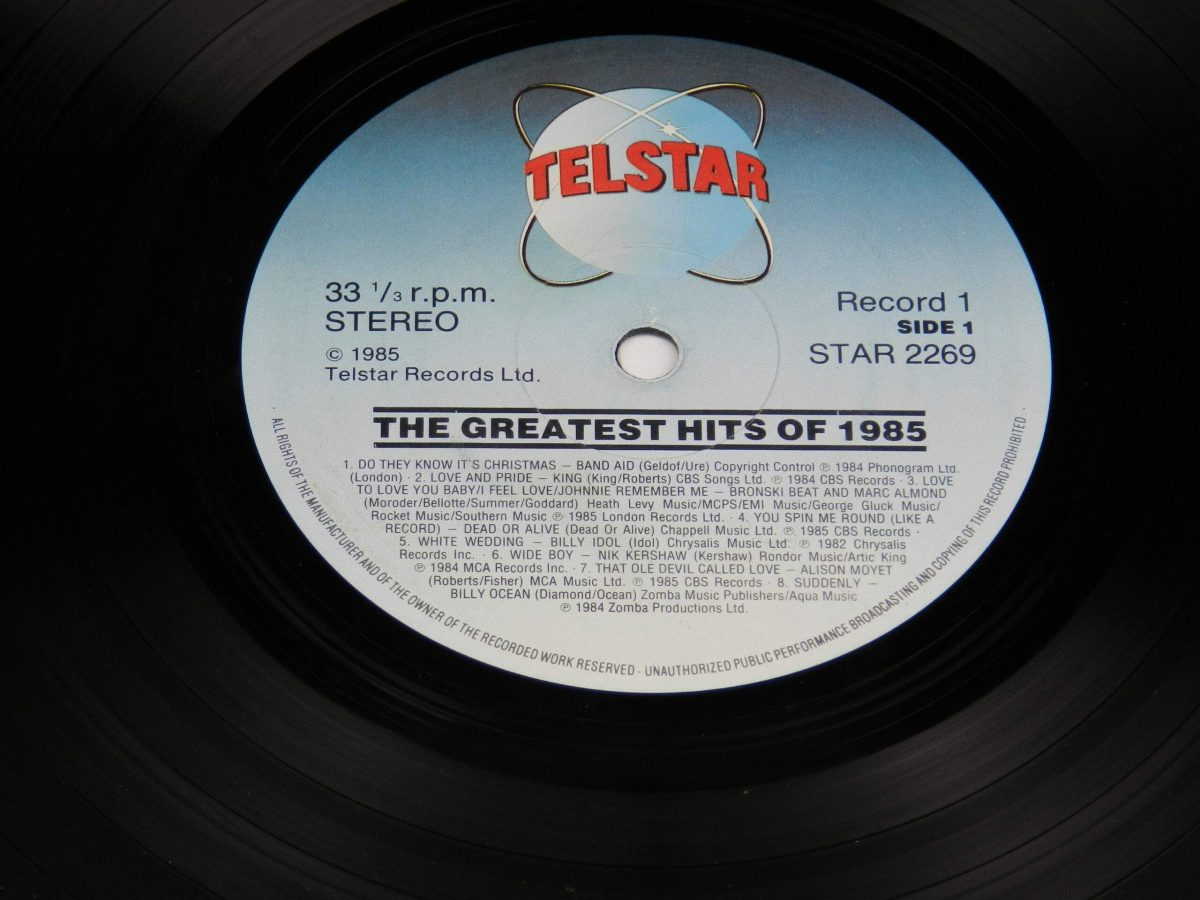 Various – The Greatest Hits Of 1985 vinyl record 2 side A label scaled