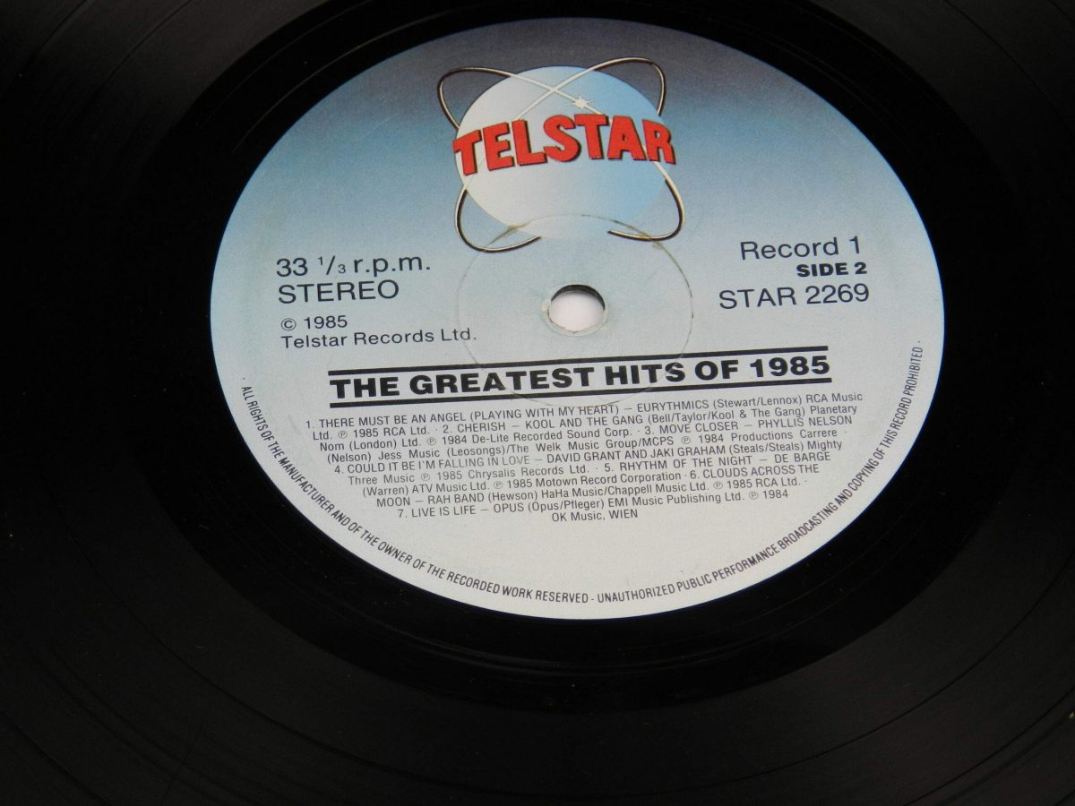 Various – The Greatest Hits Of 1985 vinyl record 2 side B label scaled